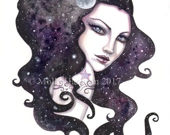 Night Skye - Celestial Woman - Wicca, Wiccan - Watercolor Giclee Fantasy Art Print by Molly Harrison - Fine Art Print 9 x 12