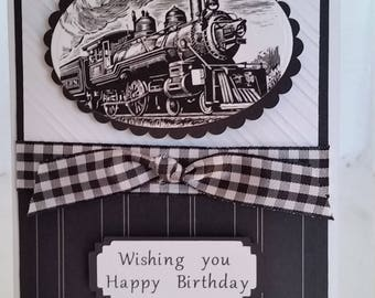 Handmade, handcrafted, masculine train birthday card