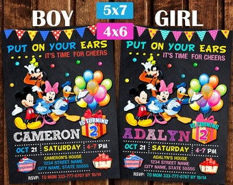 Mickey Mouse Invitations, Mickey Mouse Birthday Invitation, Mickey Invitation, Mickey Birthday Party, Mickey Mouse Theme Printables.