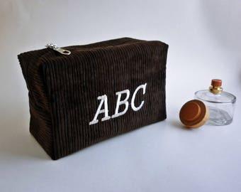 Monogrammed Chocolate bag, Dopp Kit / Shave Bag / Toiletry Bag / Cosmetic Bag / Travel Bag / Groomsman Gift / Christmas Gift / Mens Gift