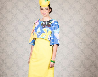 Crazy Teapot Yellow and Blue size 10 Dress with Ken Done print overlay