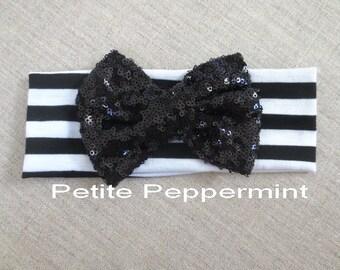 Baby bow knot headband - Black Baby Headband - Baby Headwrap - Baby Wrap Bow - Baby Turban Bow - Turban Headwrap - Turban Headband