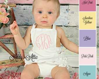 Baby Girl Sunsuit Romper, Monogrammed Sunsuit, Ruffle Romper, Toddler Girl, Beach Pictures, Beach Outfit, Easter Outfit