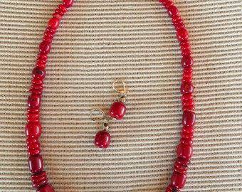 Southwest Red Coral Necklace/Earring Set