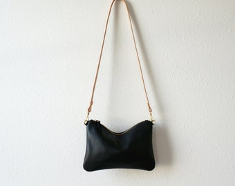 Soft Black Leather Crossbody Pouch
