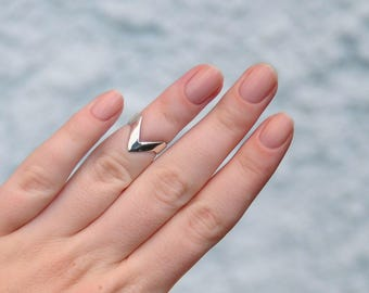 Minimalistic Sterling Silver Ring Mountain