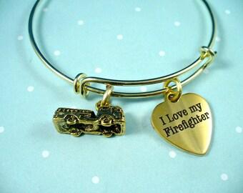 I Love My Firefighter, Golden Fire Truck, Firefighter Love, Firefighter Bangle, Fireman Wife, Gold Bangle Bracelet, Adjustable Bangle, Gift