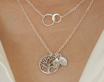 Mother's Day Gift Layering Necklaces Gift Family Tree Initial Personalized Interlocking Silver Circle Necklace Grandmother Jewelry Gift