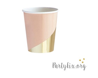 Blush and Gold Cups | Goddess Gold Paper Party Cups | Wedding Party Cups | Peach and Gold Party Cups - Set of 8