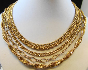 Vintage Signed Miriam Haskell Five Strand Brass Chain Necklace