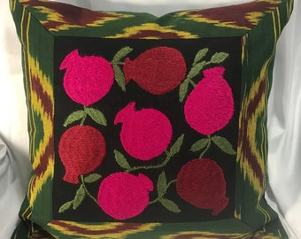 Two Ikat Pillow Case with Pomegranates.