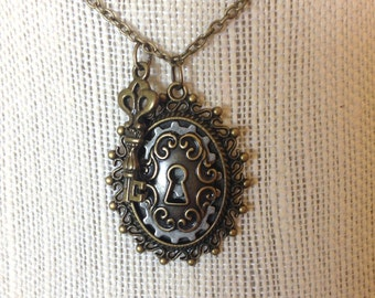 Steampunk antique brass lock and key necklace