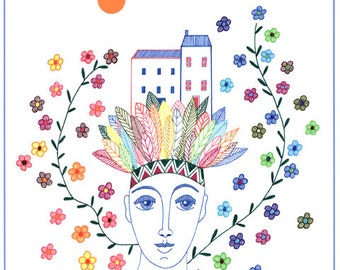Multicolored Art Print 10 x 8, House Drawing, Woman and home art, Multicolored flower illustration, Feather drawing, Nursery Wall Art