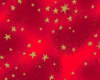 Laurel Burch, Metallic Stars on Red Cotton Woven, Enchantment, by Clothworks
