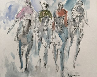 "Original pen and ink drawing with watercolor wash ""The Race"""