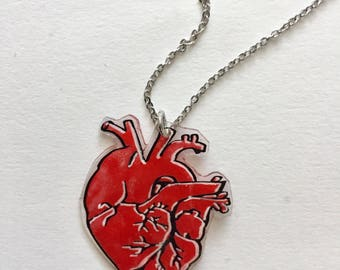 Hand painted vintage retro tattoo heart necklace