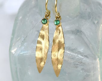 Emerald Leaf Earrings in Ethical 18k Gold, Fair Trade Gems