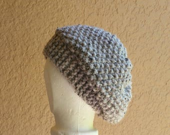 Slouch Hat band brim beanie stocking cap or beret gray, grey, hand knit with seed stitch details