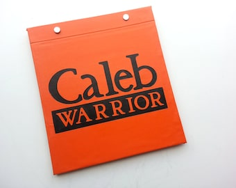 Race Bib Holder - Runner TitleType Warrior with Name Personalization -  Hand-bound Book for Runners - Orange and Black