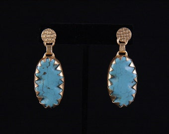 Long Turquoise Blue Earrings