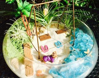 """Playground Beach Terrarium Kit ~ Swing Set and See Saw ~ 10"""" Glass Bowl Air Plant Terrarium Kit ~ Princess Puppy ~ Beach Decor ~ Beach Gift"""
