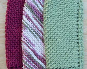 Handmade Cotton Knitted Washcloths (set of 3)