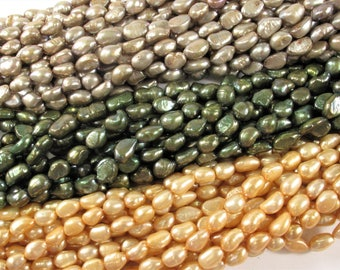 7-8 x 9-11 mm Rice Nugget Freshwater Pearl Beads in Olive Green OR Taupe OR Peach Color,Genuine Cultured Freshwater Pearls(295-NMIX0711)