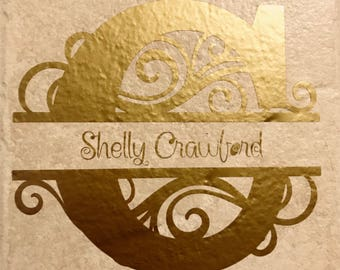 Small intial decorative tile customizable letter and name in the middle