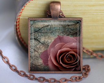 Dark Rose Pendant, Necklace or Key Chain - Choice of 4 Bezel Colors