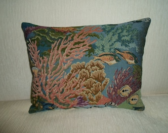 "Designer TROPICAL FISH & CORAL Tapestry pillow    15""x 12"""