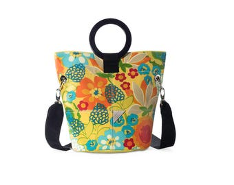 Sunbright Canvas and Leather Bucket Bag