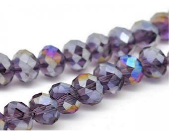 70 purple 8mm faceted Crystal beads