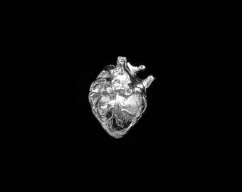 3D Anatomical Human Heart Pendant - Rhodium Plated (1x) (K626-B)