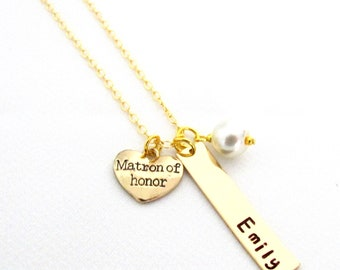 Gold Wedding Necklace,Personalized Matron of Honor Necklace,Name Necklace,Wedding gift ideas,Bridesmaid,Maid of Honor gift,Free Shipping USA