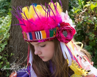 Rainbow Headdress- Fairy Headpiece- Feather Headdress- Fairy Crown- Fairy Costume- Boho Headdress- Bright Color Headpiece- Boho Fairy