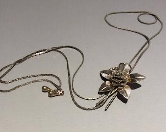 Mesh Rose Lariat Necklace