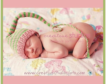 Newborn Baby Girl Knit Hat BaBY PHoTO PRoP Long Tail SToCKiNG CaP Heather Pink Green Stripe Beanie CoMiNG HoME Pick Color Toque Shower Gift