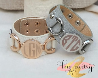 Monogram Cuff Bracelet, Leather Etched Cuff Bracelet, Silver Monogram Bracelet, Leather Monogram Bracelet, Monogram Jewelry