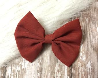 Slide on burgundy silk bow tie