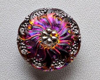 CZECH GLASS BUTTON: 27mm Nouveau Flower Swirl Handpainted Czech Glass Button, Pendant, Cabochon (1)