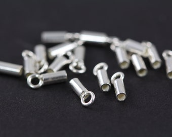 Crimp Tube, Crimps with Loop 925 Sterling Silver, 10 Units