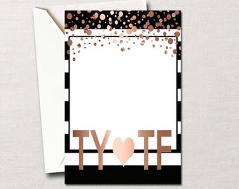 Graduation Thank You Note Card ~ Text it in Metallic Rose Gold Confetti ~ Custom DIY Printable