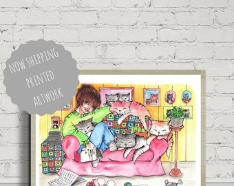 Cat Poster, Cat Print, Cat Lady Illustration, For Cat Lovers, Wall Art, Funny Cats, Colorful Cat Illustration, Humor Cat Art, Watercolor