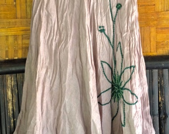Beautiful Hand Embroider/ Hand Crochet Comfortable Dress. Turquoise or Light Gray
