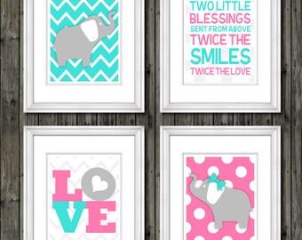 Twin nursery wall art boy/girl, twin nursery decor, boy girl nursery wall art, pink teal twin decor, boy/girl twin decor, twin nursery art