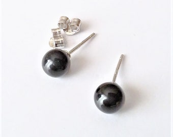 Sterling Silver Stud Earrings, Gemstone Post Earrings, Ball Studs, Small Post Earrings, Onyx Stud Earrings, Minimalist Everyday Earrings.