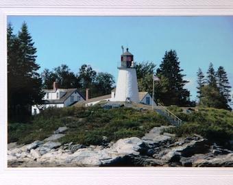 Blank greeting card, Maine lighthouse, Boothbay Harbor, thank you card, Burnt Island Light photo notecard, coastal beacon, New England shore