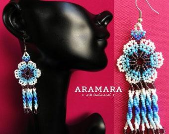 Flower Earrings, Mexican Jewelry, Huichol Earrings, Mexican folk art, Mexican earrings, Native american earrings, Beaded Flower, AF-0148