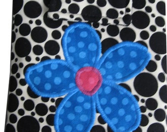 Tablet Sleeve in Black and White with Applique Flower