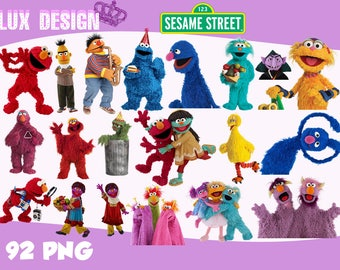 92 Sesame Street ClipArt- PNG Images 300dpi Digital, Clip Art, Instant Download, Graphics transparent background Scrapbook